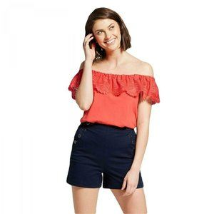 NWT A New Day Lace Off Shoulder Top Small Coral